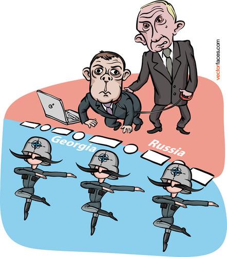 Западные карикатуры на Путина и Медведева