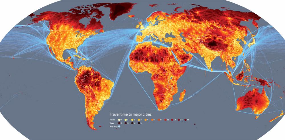 Карта дня: время в пути до крупных городов мира