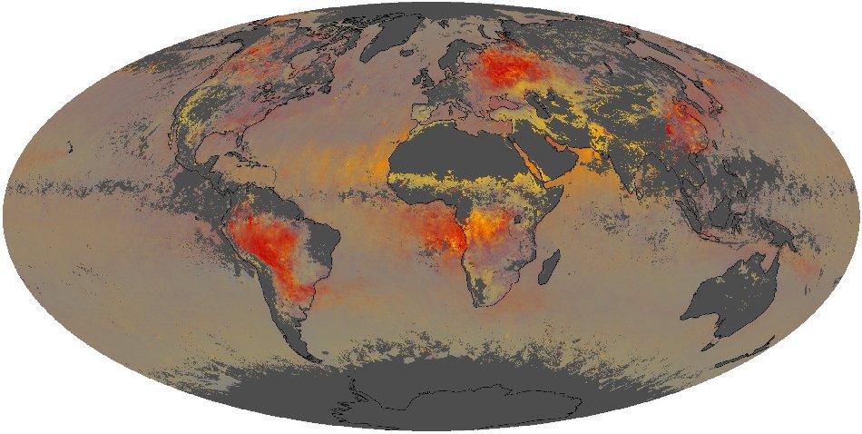 Карта дня: аэрозольное загрязнение Земли