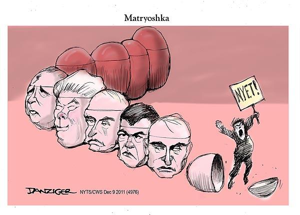 Декабрьские протесты россиян в западных карикатурах