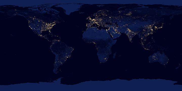 Карты ночной освещённости Земли