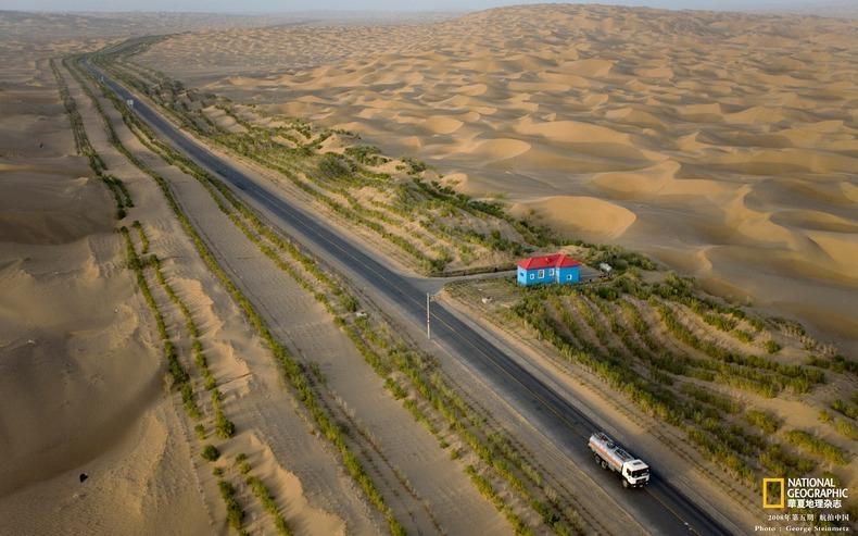 Китайский труд: 446 км шоссе по пустыне