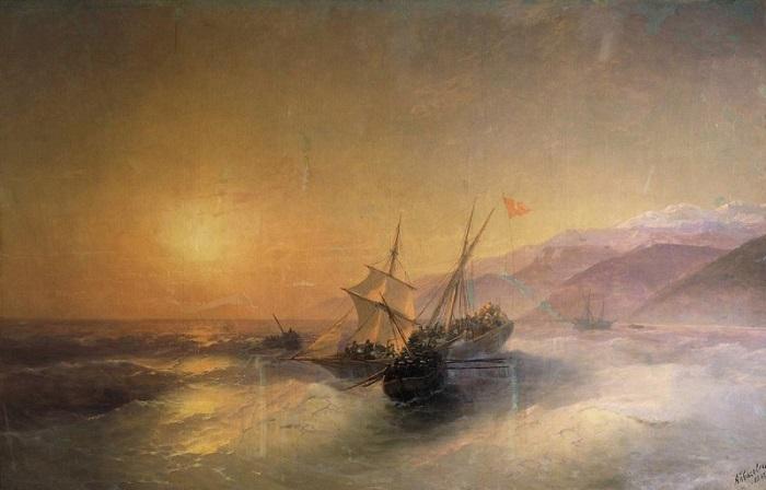 Айвазовский «Взятие русскими матросами турецкой лодки и освобождение пленных кавказских женщин»